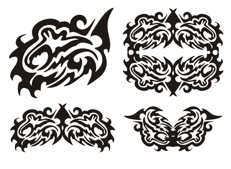 dragon fish: Tribal dragon fish and fish elements Illustration