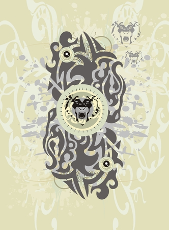 Abstract background with the tribal lions heads and splashes Vector