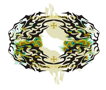 Abstract lion frame with peacock feathers Vector