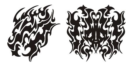 dragon tribal: T�te de dragon tribal et le dragon tatouage de papillon