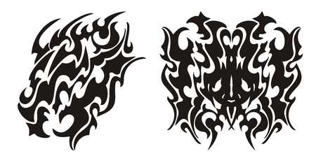 Tribal dragon head and dragon butterfly tattoo Illustration