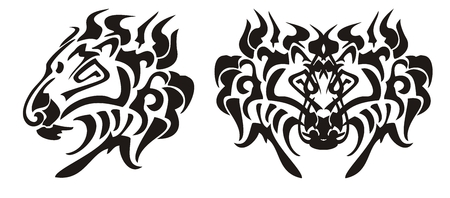 Lion head in tribal style. Black on the white Vector