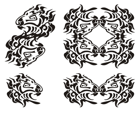 trembling: Tribal lion head symbols. Black on the white Illustration
