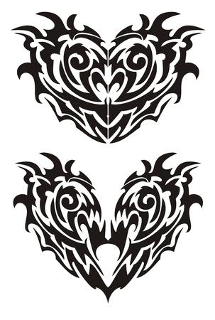twirled: Due cuori neri demoniache mostri in stile tribale