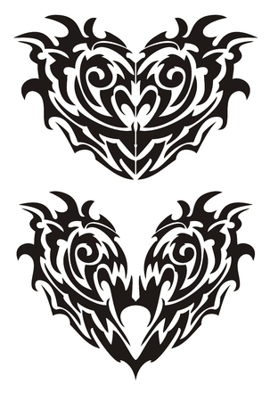 Two black demonic monsters hearts in tribal style Vector