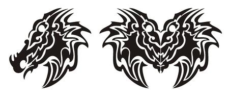 cabeza de dragon: Tribal s�mbolo de cabeza de drag�n y el drag�n de la mariposa del tatuaje