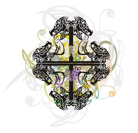 abstract cross: Tribale croce astratto formata dalle teste di drago con spruzzi