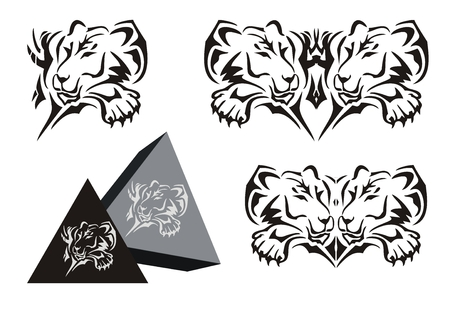 Tribal lying lioness symbol with a paw and a lioness pyramid Illustration