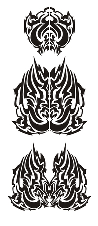 open flame: Flaming wings in tribal style
