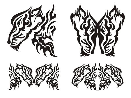 savagery: Tribal tattoo wild fox elements Illustration