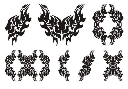 trembling: Tribal lion wing symbols. Black on the white
