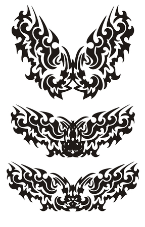 Three butterflies inspiring fear in tribal style Vector