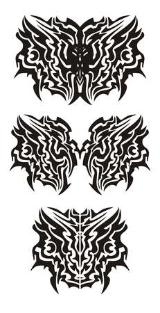 Tribal dragon butterfly tattoo Vector