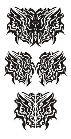 dragon tribal: Tribal dragon tatouage de papillon