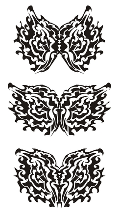 Tribal butterfly wings. Black on the white Vector