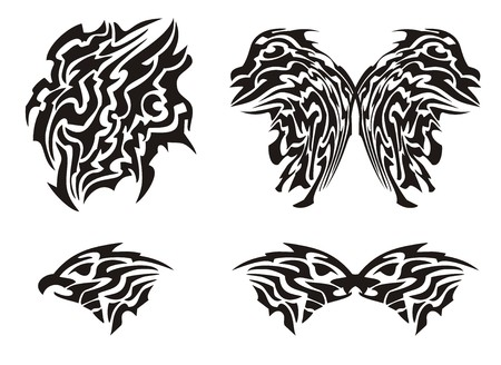 butterfly tattoo: Tribal butterfly tattoo and eagle head Illustration