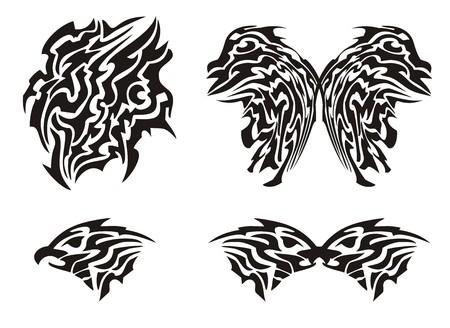 tatouage papillon: Tribal tatouage de papillon et de t�te d'aigle