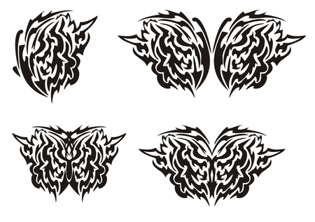 wings tattoo: Tribal butterfly wings tattoo. Black on the white