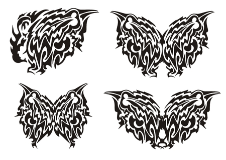 open flame: Dragon butterfly wing and butterfly from it in tribal style