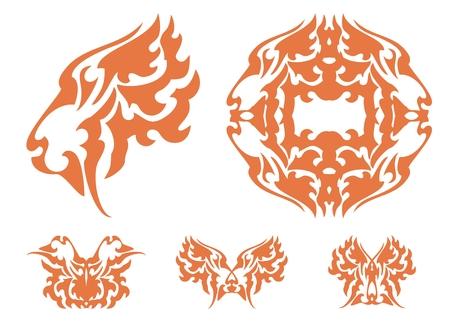 flaming: Flaming tiger symbols