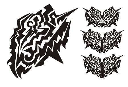Tribal dangerous butterfly wings. Black on the white Vector