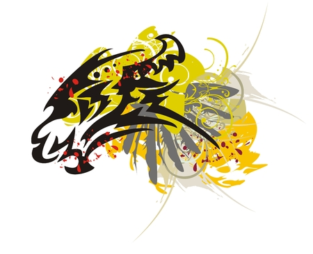 dragon head: Tribal dragon head with splashes
