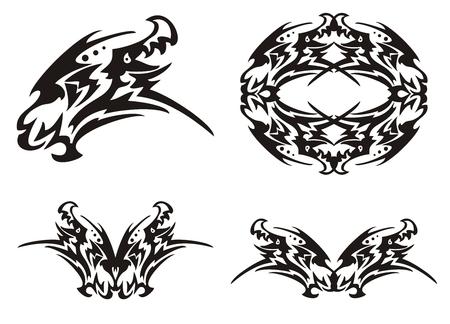 dragon tribal: T�te de dragon tribal et des �l�ments de dragon