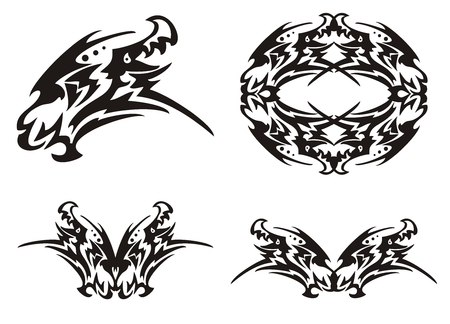 dragon head: Tribal dragon head and dragon elements
