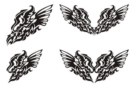 dragon tribal: Tribal aile de dragon et le c?ur de dragon avec des ailes Illustration