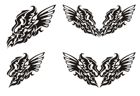Tribal dragon wing and dragon heart with wings Vector