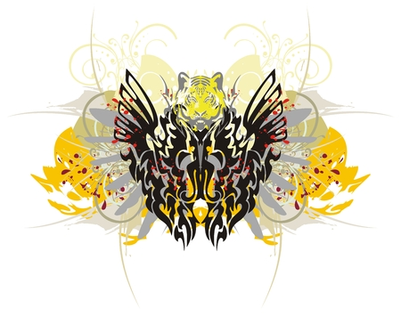 Tribal dragon butterfly with splashes