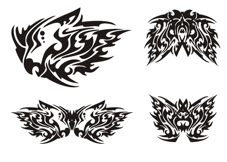 Flaming black dragon head and butterflies in tribal style Vector