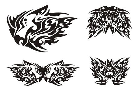 cabeza de dragon: Flaming cabeza de drag�n negro y mariposas en el estilo tribal