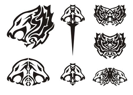 Tribal lion head symbols tattoos Vector