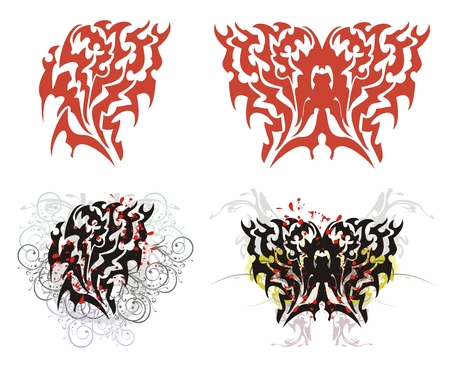 Flaming heart and butterfly in red and black options Illustration