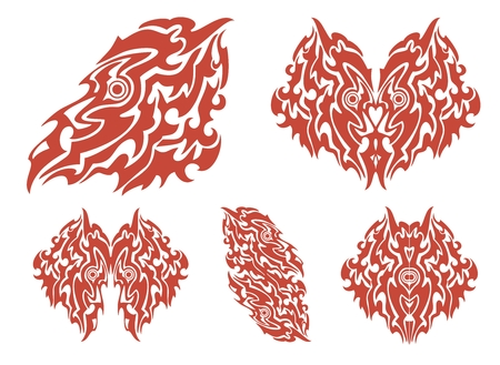 Red set of the monster bird and the flaming hearts Vector