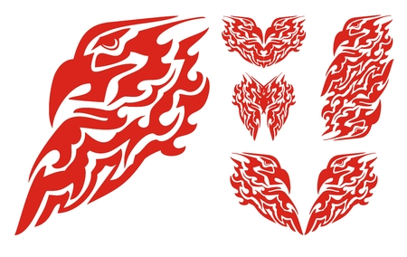 Flaming eagle head and tribal eagle elements Illustration