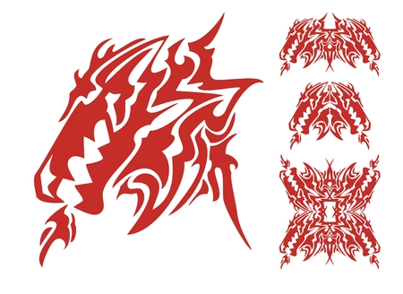 Tribal dragon head with an open mouth and dragon elements Vector