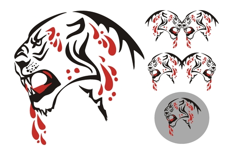 Tribal big cat with an open mouth and blood drops. The growling lioness and double symbols of a lioness with blood drops Vector