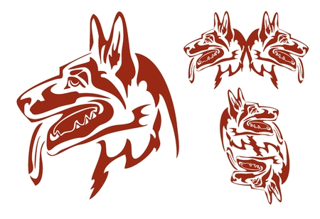 Flaming german shepherd dog in tribal style. German Shepherd dog breed vector illustration and double dog symbol