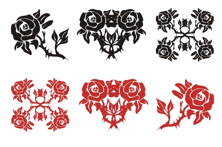The blossomed rose in black and red options Vector