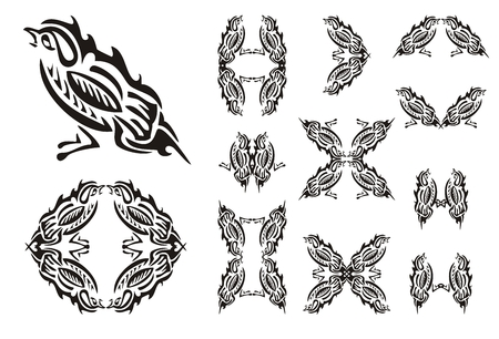 twirled: Tribal sparrow and sparrows symbols. Stylized House Sparrow. Set of the sparrows symbols isolated on a white background