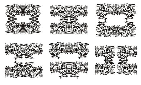Tribal dragon symbols. Black on the white. The roundish symbols of the dragon head, dragon frames inspiring fear Vector