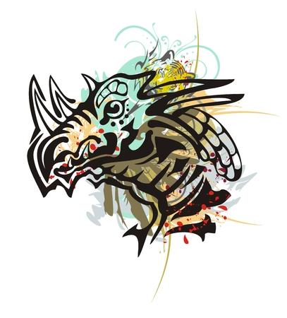 cabeza de dragon: Cabeza de drag�n tribal salpica. Grunge cabeza de cuernos del drag�n con toques florales, cabeza del tigre y la sangre cae en el estilo tribal Vectores