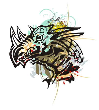 dragon head: Tribal dragon head splashes. Grunge horned dragon head with floral splashes, tiger head and blood droops in tribal style
