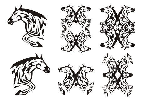 twirled: Horse in a jump and horse frames in tribal style