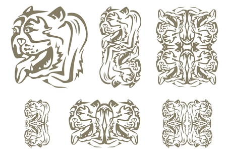 twirled: Tribal English bulldog head. Set of decorative symbols of the head of an English bulldog Illustration