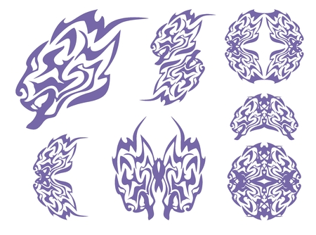 Tribal blue lion head and lions symbols. Tribal growling lion\ Vector