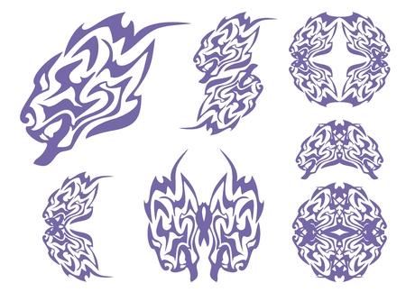 growling: Tribal blue lion head and lions symbols. Tribal growling lion\