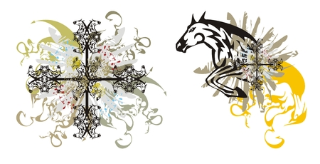 Abstract tribal horse cross with splashes and horse splashes. Horse in a jump with splashes and a horse cross with dragon splashes and blood drops Vector